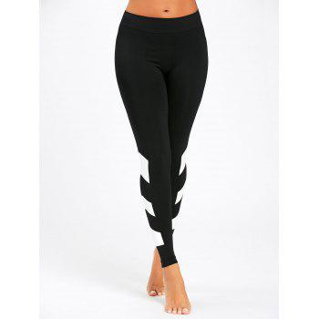 Arrow Color Block Yoga Leggings - BLACK L