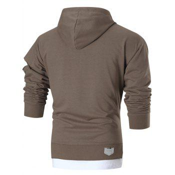 Graphic Patch Distressed Sleeve Pullover Hoodie - BROWN L