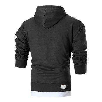 Graphic Patch Distressed Sleeve Pullover Hoodie - BLACK L