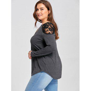 Plus Size Keyhole Neck Tunic T-shirt - DEEP GRAY 3XL