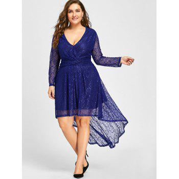 Plus Size Surplice Lace High Low Dress - BLUE 3XL