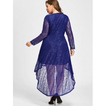 Plus Size Surplice Lace High Low Dress - BLUE 2XL