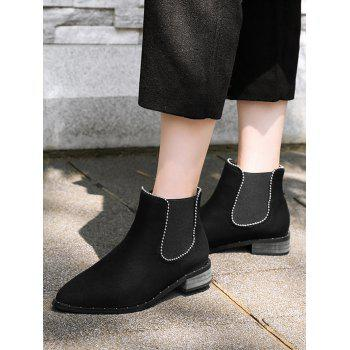 Bead Low Heel Ankle Boots - BLACK 42