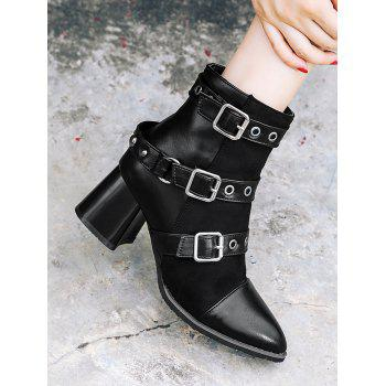 Multi Buckle Straps Chunky Ankle Boots - BLACK 38