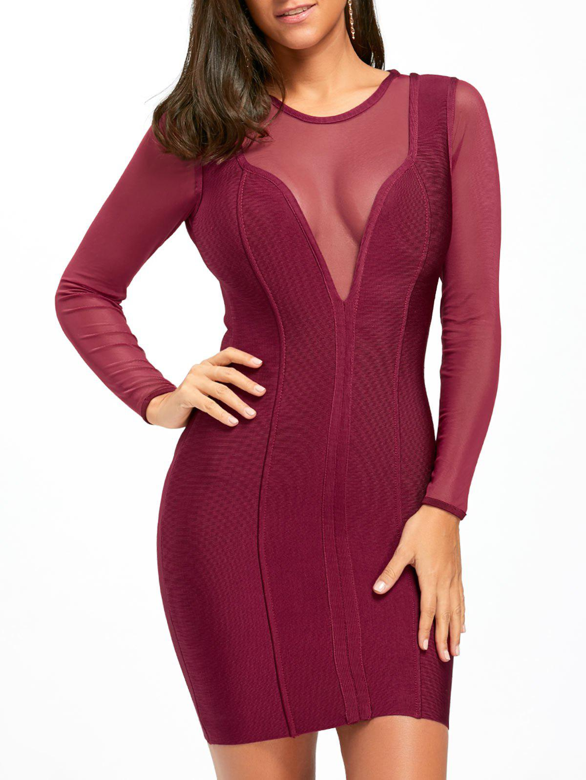 Mesh Insert Sheer Long Sleeve Bandage Dress - PURPLISH RED L