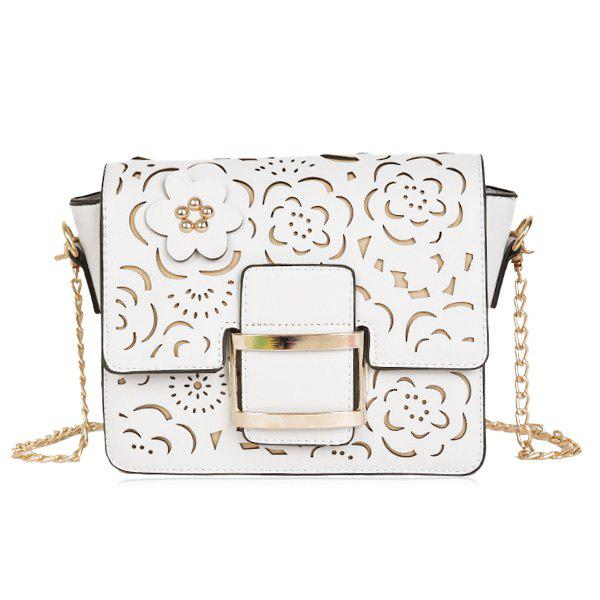 Rivet Laser Cut Crossbody Bag - OFF WHITE