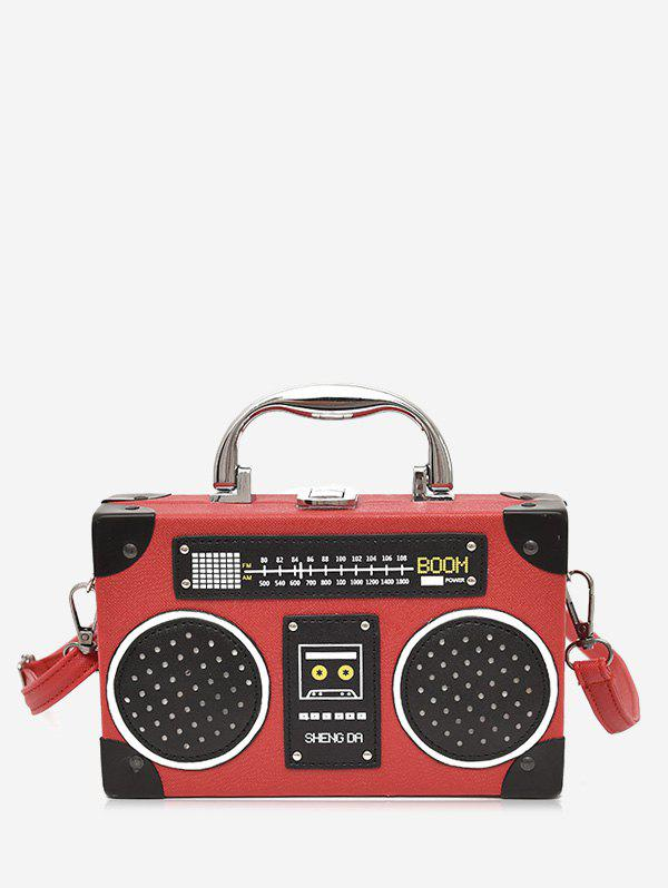 Radio Shaped PU Leather Crossbody Bag - RED