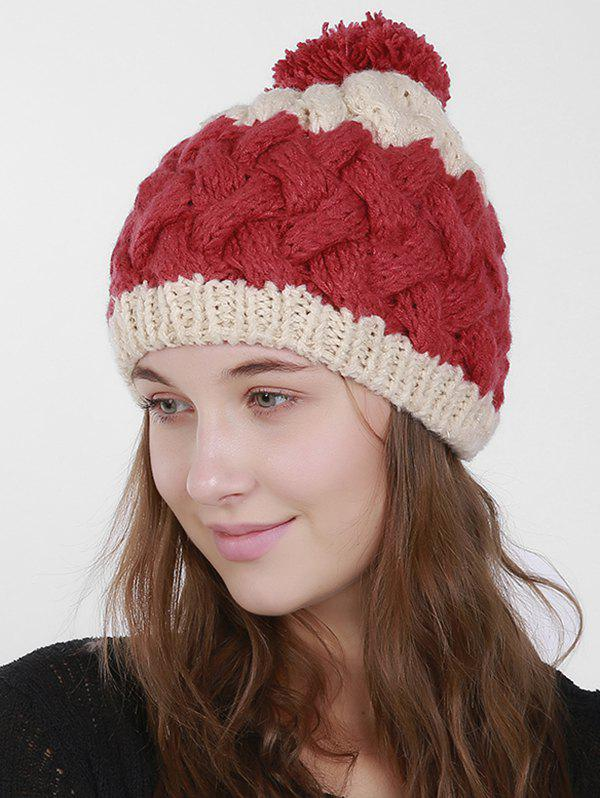 Color Trim Knit Weaving Pom Hat