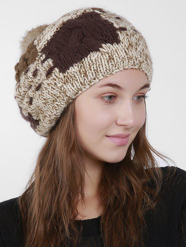 Knit Color Block Slouchy Pom Hat
