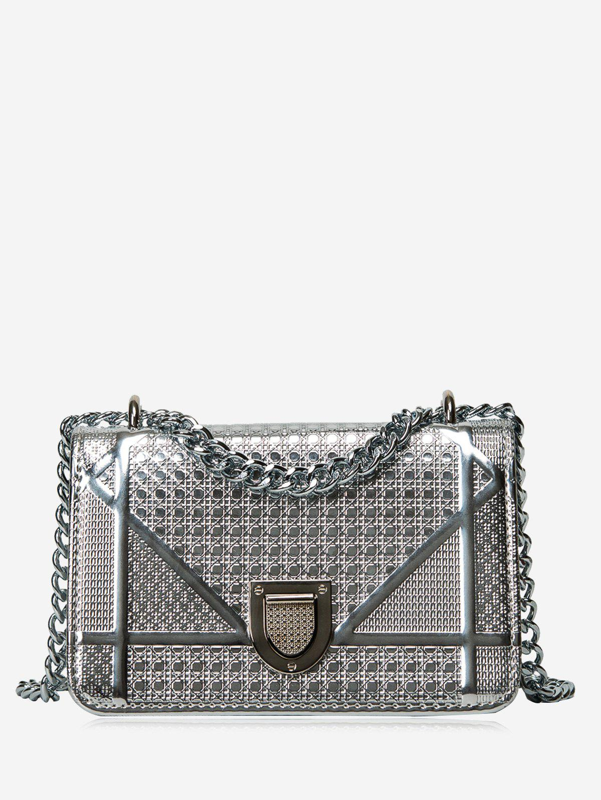 Quilted Geometric Chain Crossbody Bag - SILVER