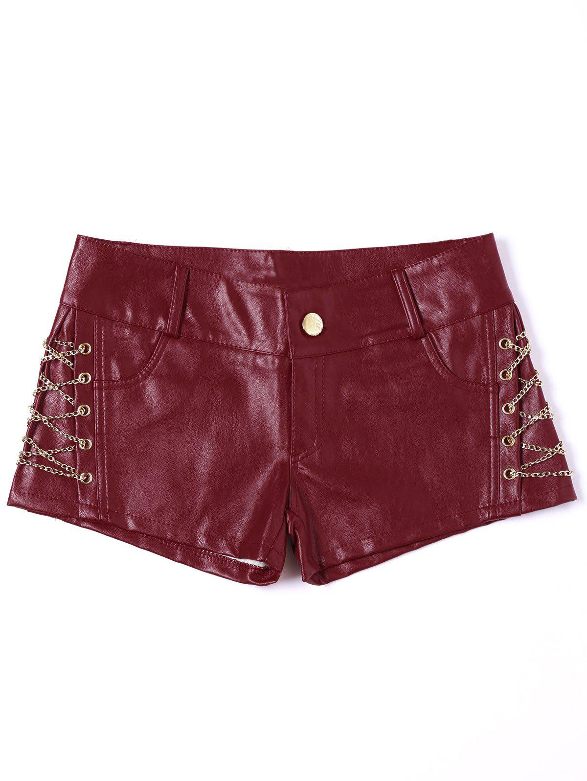 Metal Lace Up Faux Leather Shorts - RED L