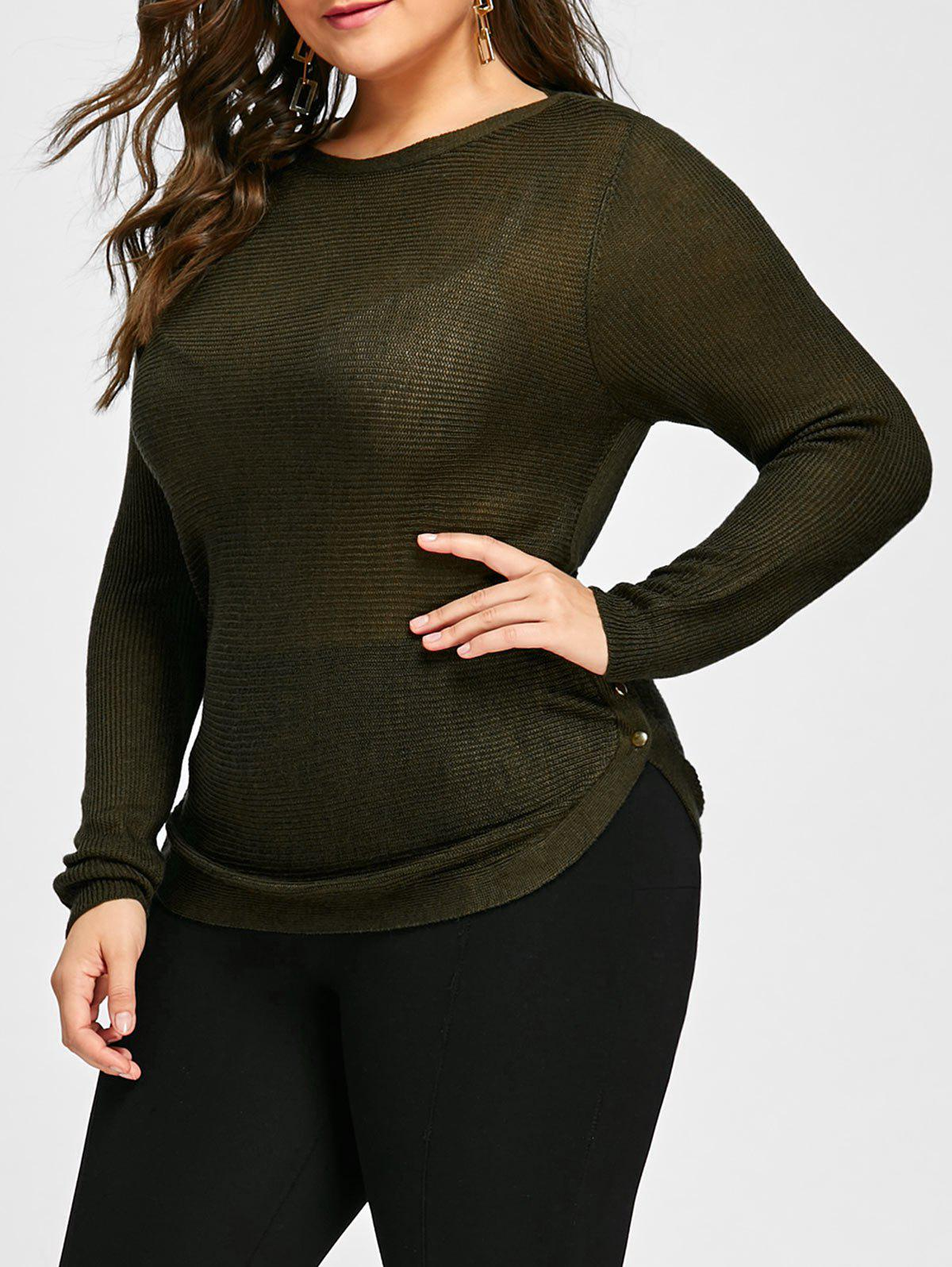 2018 Button Embellished Plus Size Sheer Sweater ARMY GREEN XL In ...