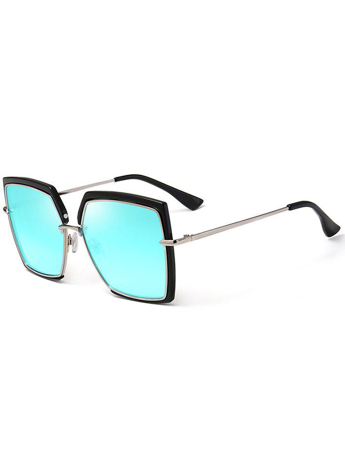 UV Protection Metal Full Frame Oversized Square Sunglasses - BLUE