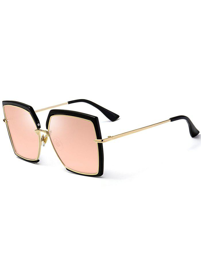 UV Protection Metal Full Frame Oversized Square Sunglasses - PINK