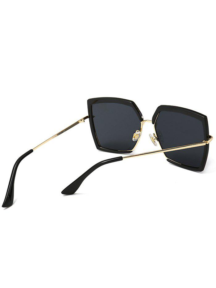 UV Protection Metal Full Frame Oversized Square Sunglasses - BLACK