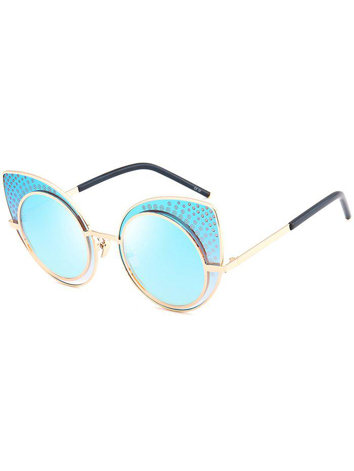Anti UV Rhinestone Embellished Metal Frame Cat Eye Sunglasses - WINDSOR BLUE