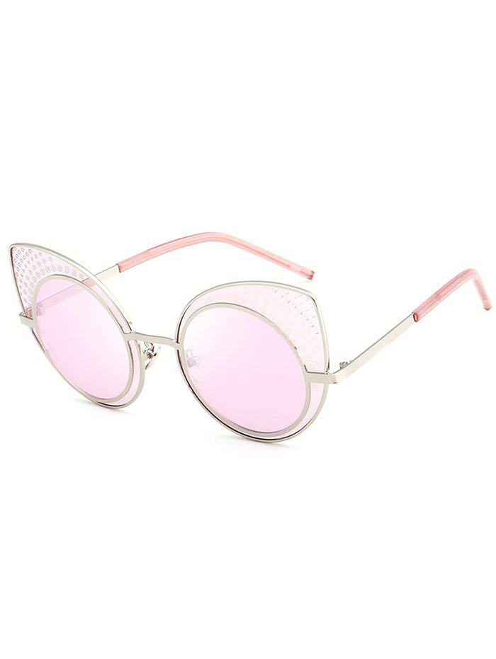 Anti UV Rhinestone Embellished Metal Frame Cat Eye Sunglasses - PINK