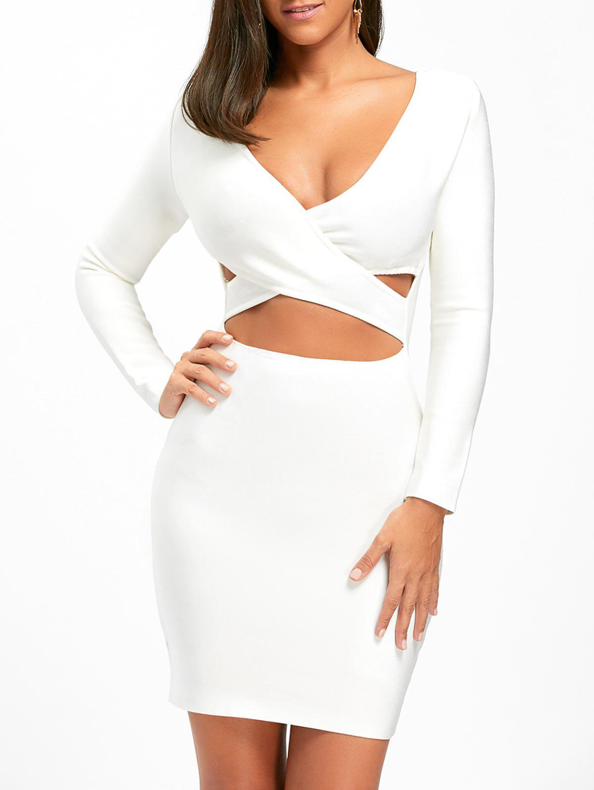 Cut Out Long Sleeve Bandage Dress - WHITE S