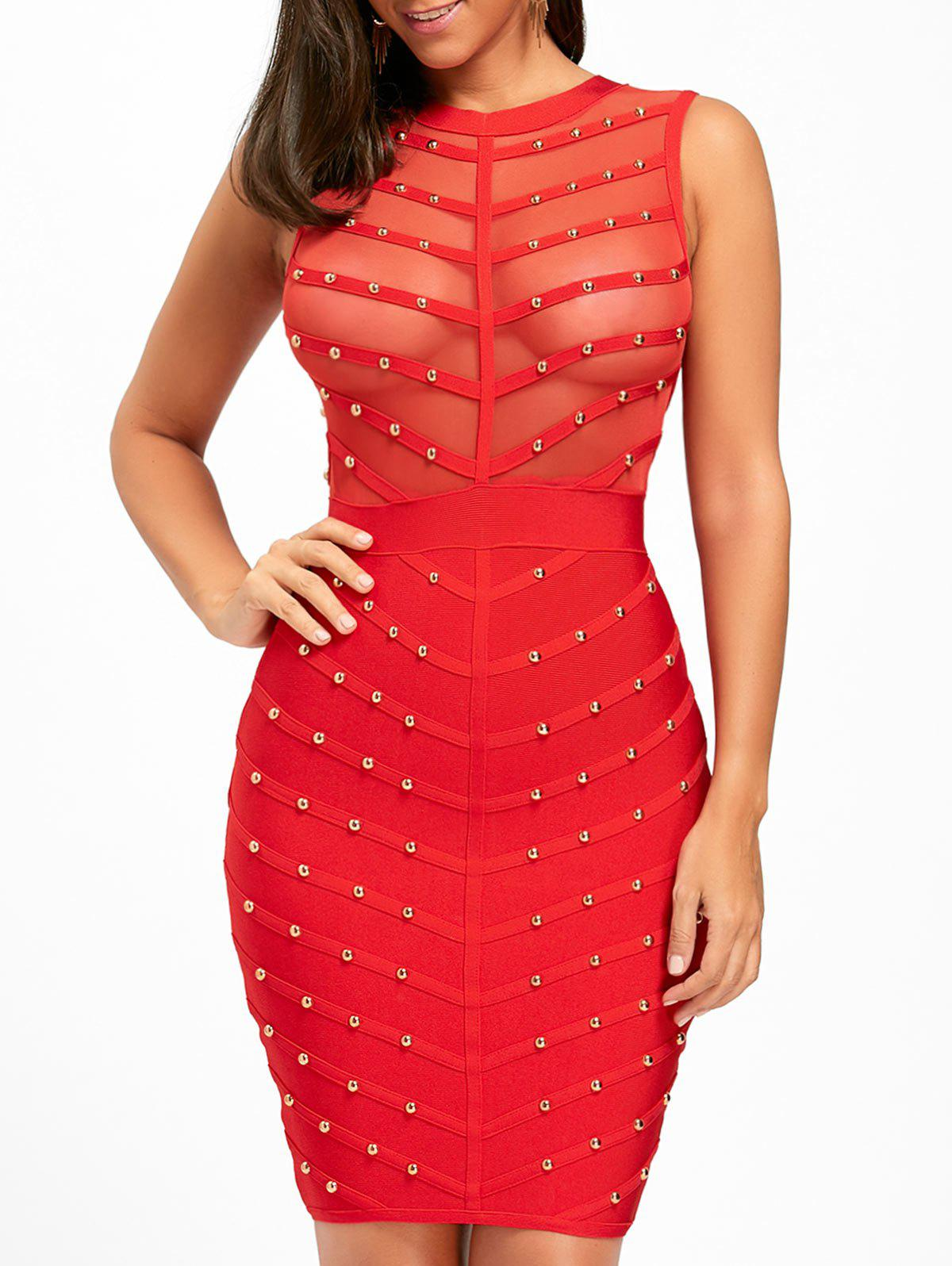 Sleeveless Mesh Insert Studded Bandage Dress - RED S