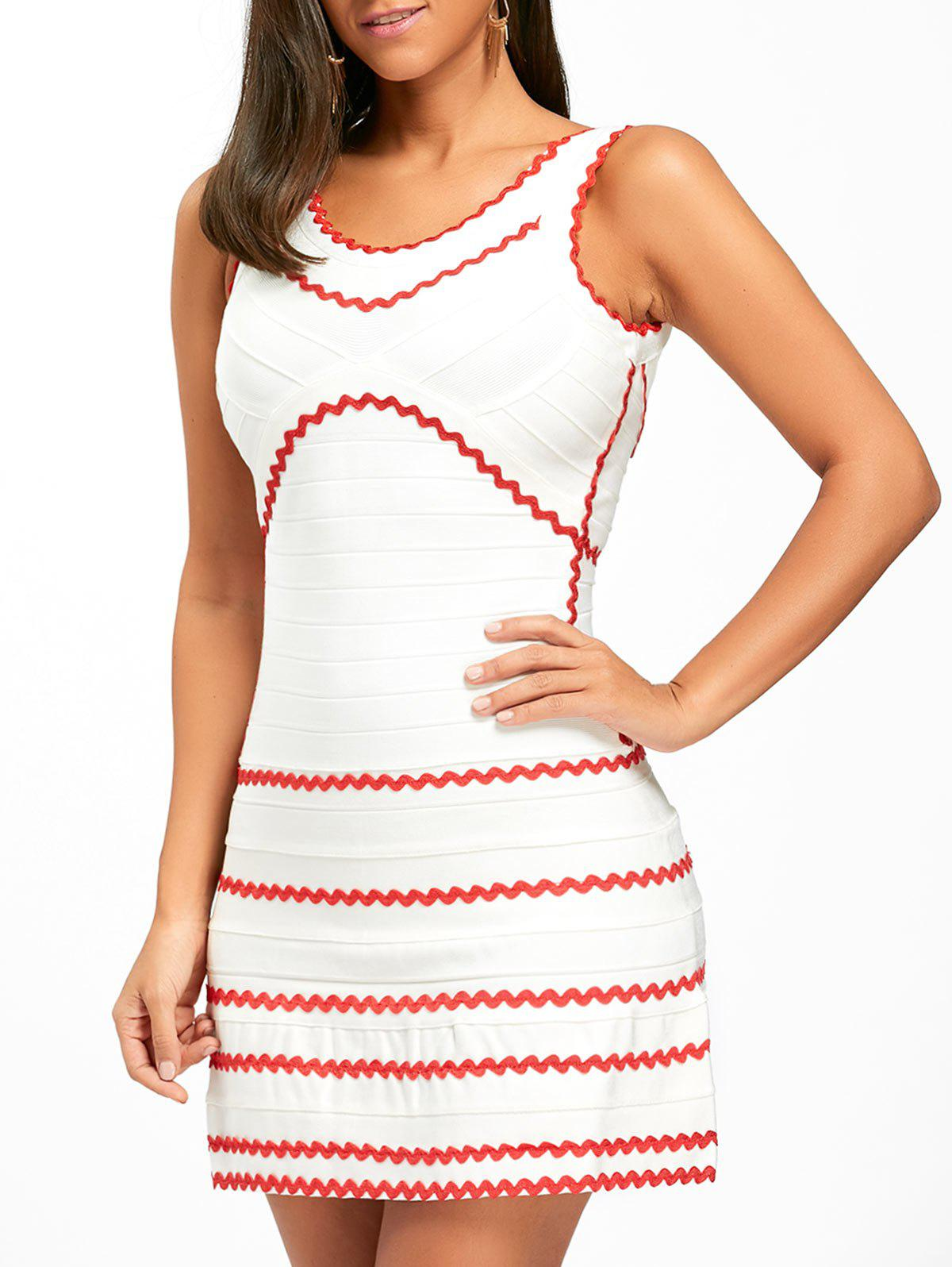 Contrast Wavy Stripe A-line Bandage Dress - WHITE S