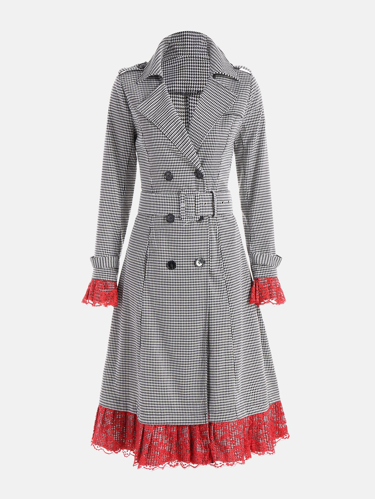 Belted Houndstooth Printed Lace Trim Long Coat - WHITE/BLACK 2XL