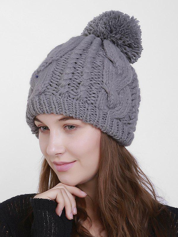 Chunky Cable Knit Plain Pom Hat - gris
