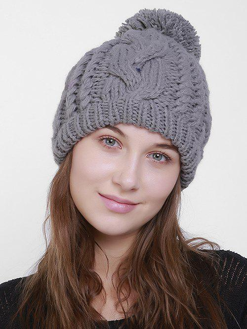 Chunky Cable Knit Plain Pom Hat - GRAY