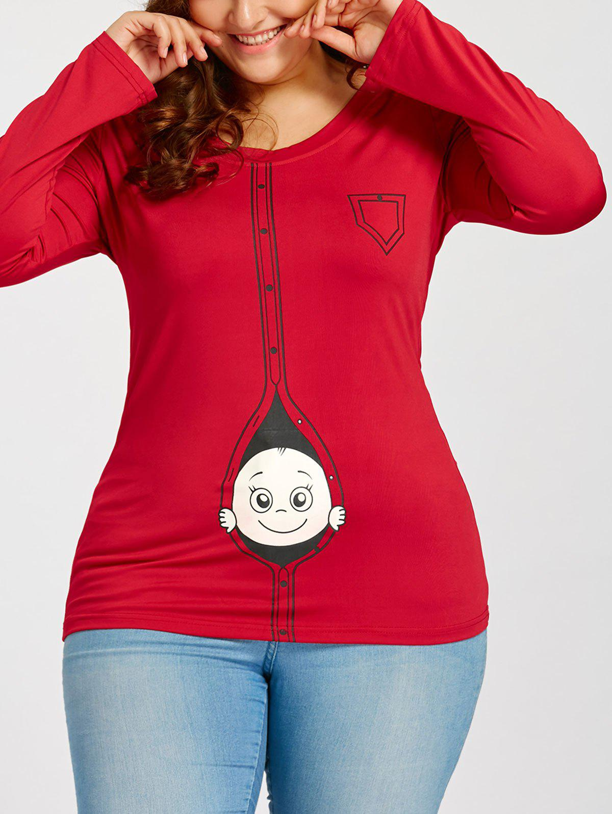 Cartoon Baby Printed Plus Size Long Sleeve T-shirt - RED 2XL