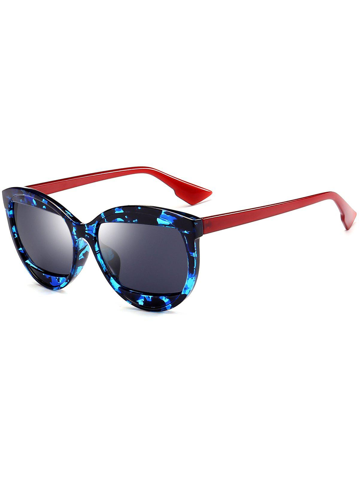 Eyebrow Design Cat Eye Sunglasses - BLACK BLUE