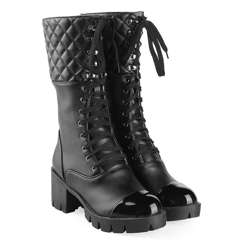 Lace Up Eyelet Quilted Mid Calf Boots lace up slouch mid calf boots