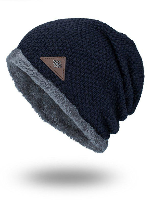 Fluffy Panel Triangle Label Thicken Knit Hat - PURPLISH BLUE
