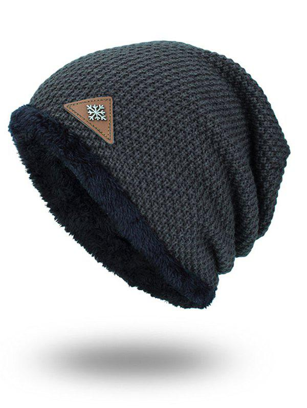 Fluffy Panel Triangle Label Thicken Knit Hat - DEEP GRAY