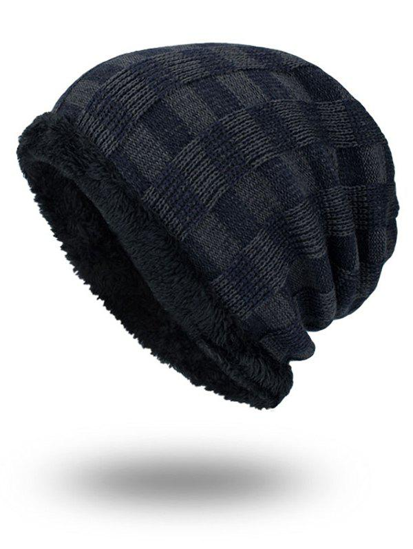 Outdoor Plaid Pattern Velvet Baggy Beanie - PURPLISH BLUE