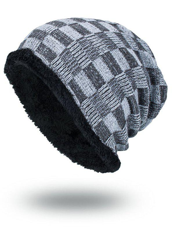 Outdoor Plaid Pattern Velvet Baggy Beanie - GRAY