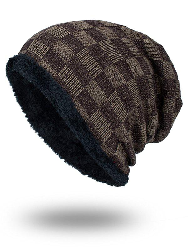 Outdoor Plaid Pattern Velvet Baggy Beanie - DUN