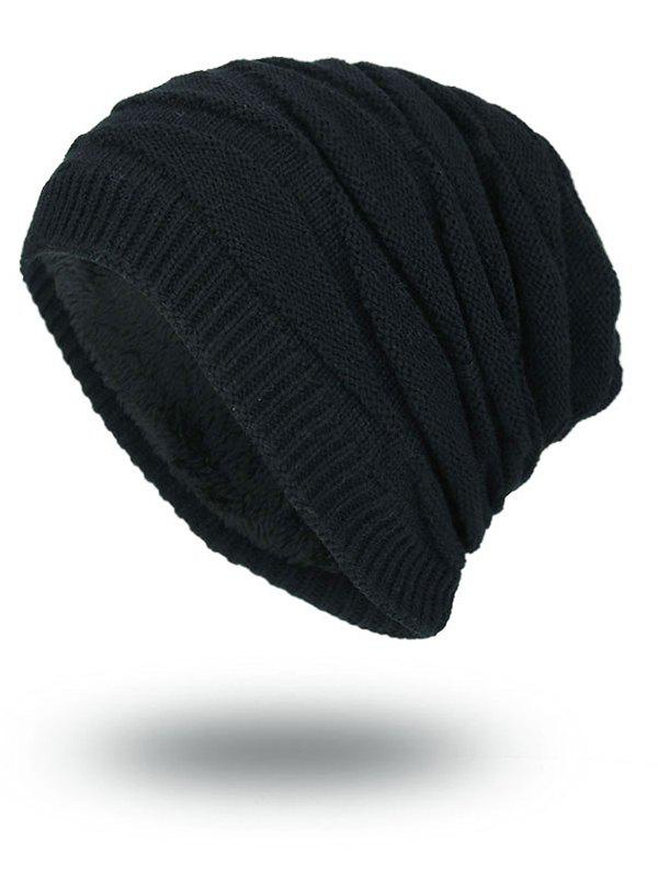Vintage Stacking Stripe Slouchy Knit Beanie - BLACK
