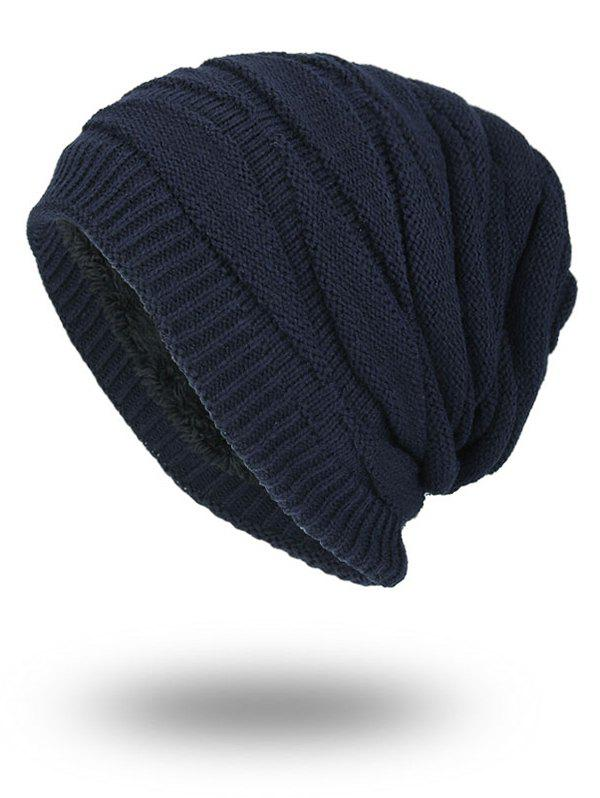 Vintage Stacking Stripe Slouchy Knit Beanie - PURPLISH BLUE