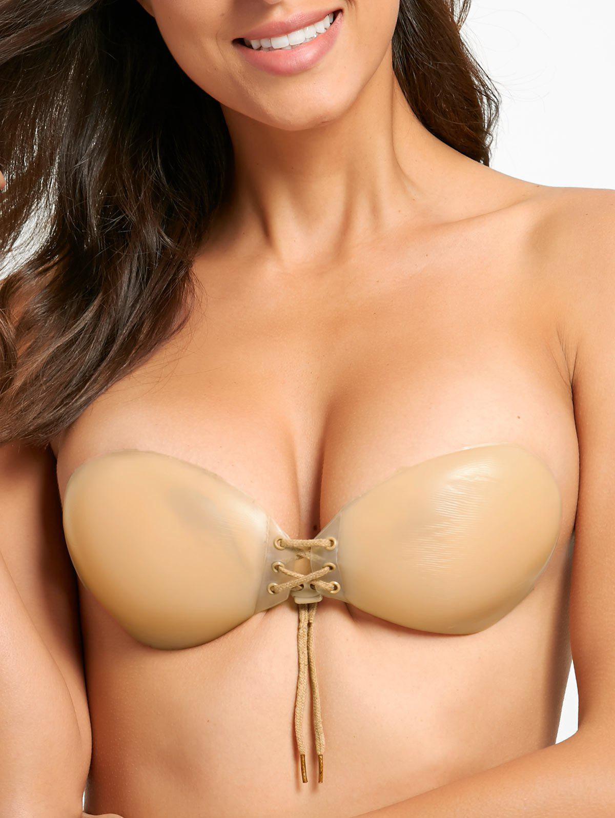 Silicone Lace-up Invisible Adhesive Bra - COMPLEXION CUP A