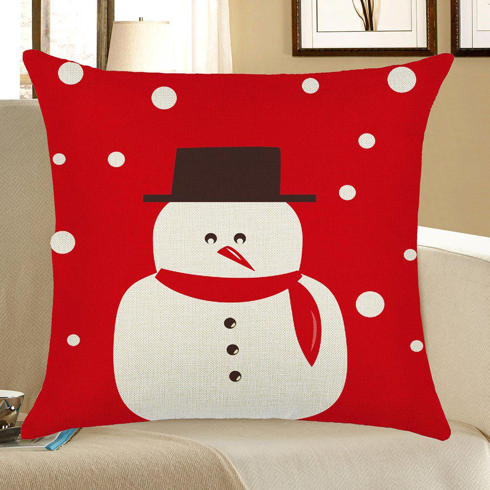 Home Decor Snowman Printed Christmas Pillow Case linen christmas snowman printed home decor pillow case