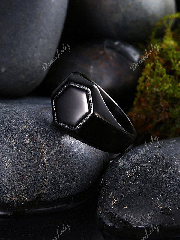 Alloy Hexagram Circle Finger Ring - Noir 7