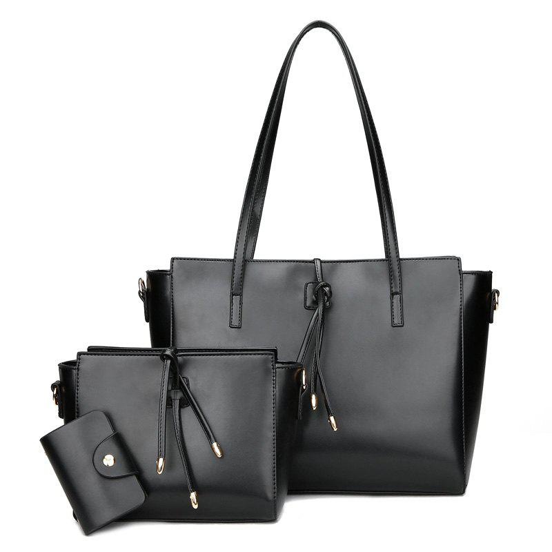 Faux Leather String 3 Pieces Shoulder Bag Set - BLACK