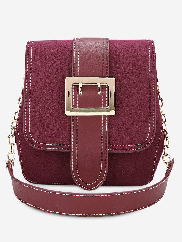 Stitching Buckle Strap Shoulder Bag - PURPLISH RED
