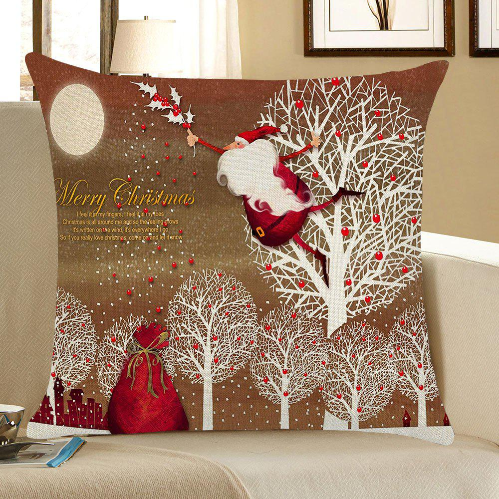 Santa Claus and Trees Pattern Linen Pillow Case santa claus deer cushion throw pillow case
