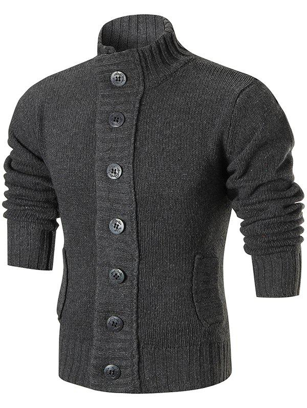 Stand Collar Button Up Sweater Cardigan - GRAY 2XL
