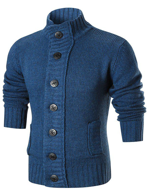 Stand Collar Button Up Sweater Cardigan - BLUE 2XL