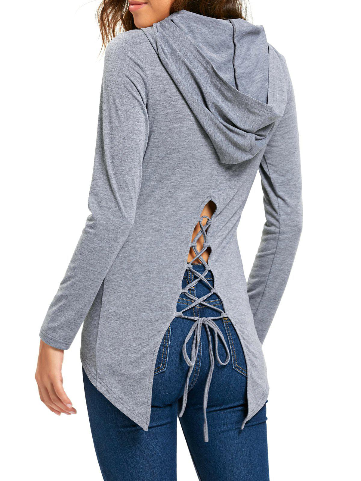 Hooded Lace Up High Low Tunic T-shirt - GRAY M