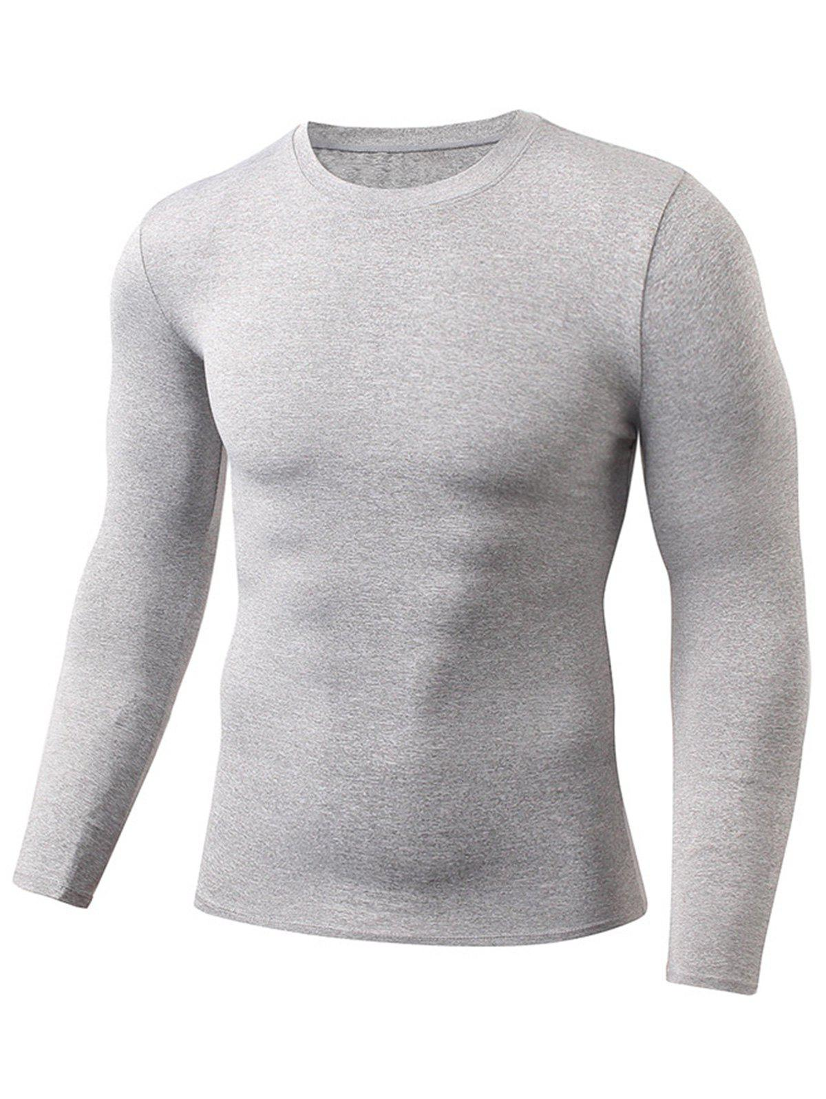 Fitted Quick Dry Gym Long Sleeve T-shirt - LIGHT GRAY M