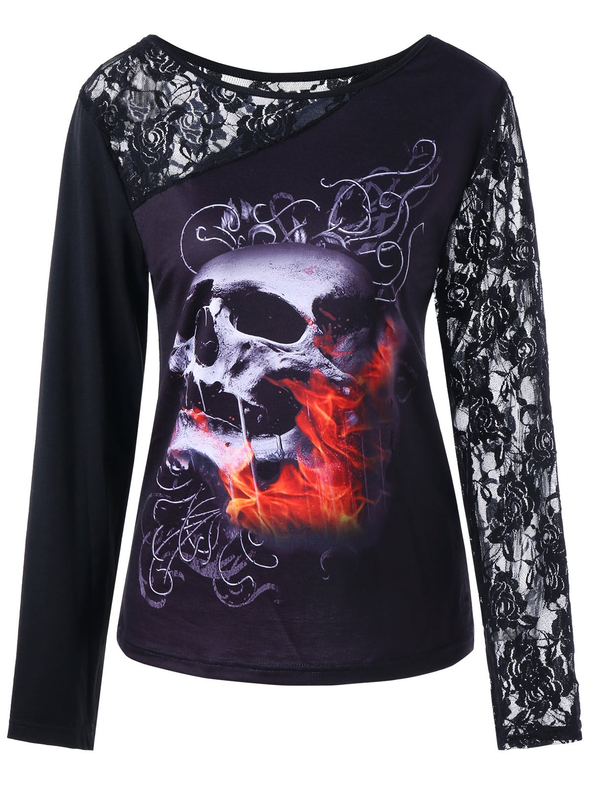 Halloween Long Sleeve Lace Insert Skull Print Top