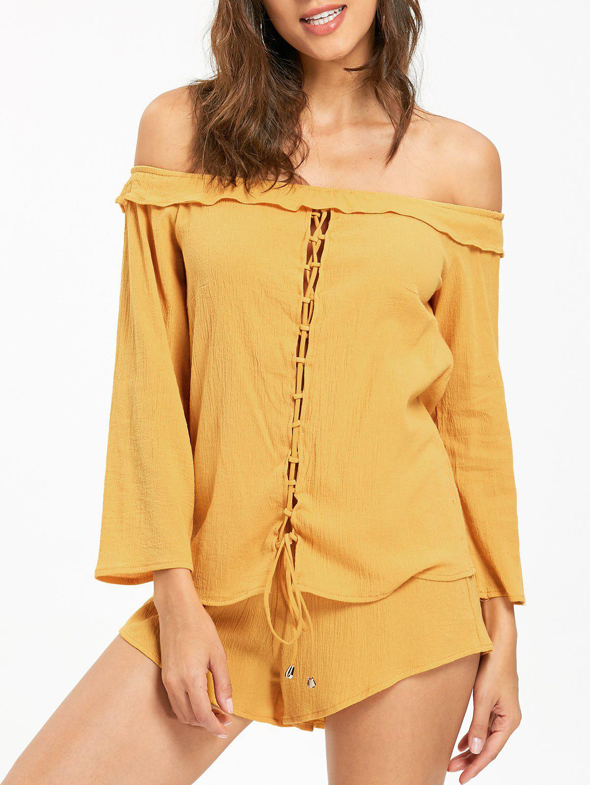 Off The Shoulder Lace Up Blouse and Shorts - DEEP YELLOW XL