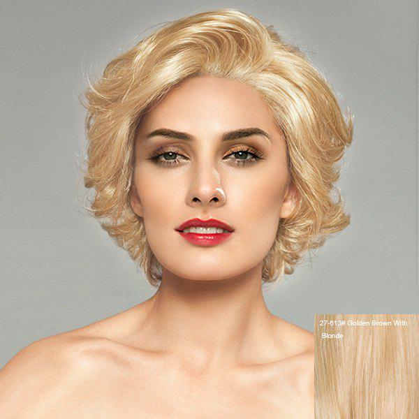 Short Side Bang Shaggy Slightly Curly Lace Front Human Hair Wig - GOLDEN BROWN/BLONDE